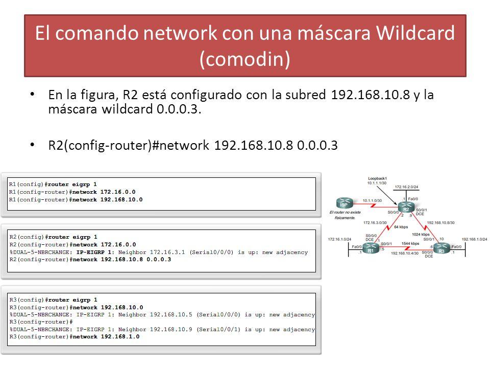 En la figura, R2 está configurado con la subred 192.168.10.8 y la máscara wildcard 0.0.0.3. R2(config-router)#network 192.168.10.8 0.0.0.3 El comando