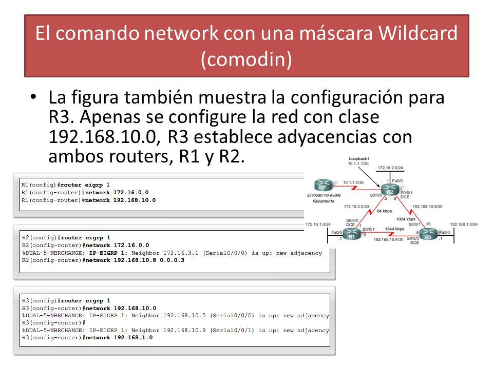 La figura también muestra la configuración para R3. Apenas se configure la red con clase 192.168.10.0, R3 establece adyacencias con ambos routers, R1