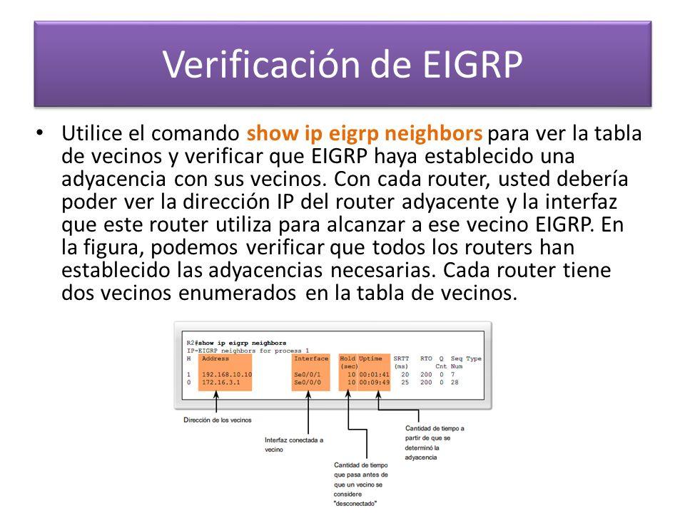 Utilice el comando show ip eigrp neighbors para ver la tabla de vecinos y verificar que EIGRP haya establecido una adyacencia con sus vecinos. Con cad