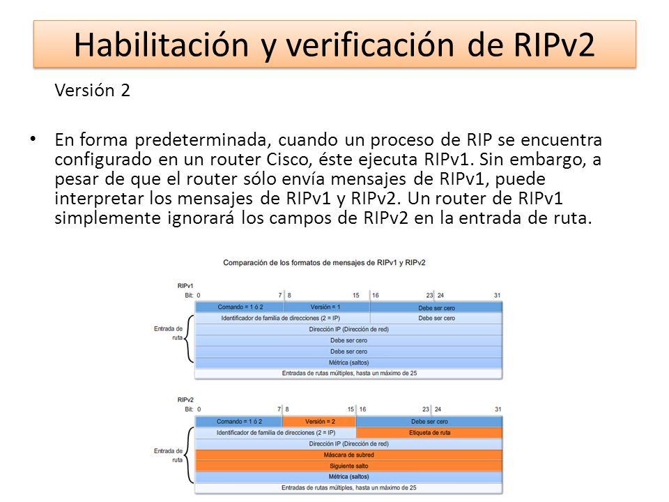 Versión 2 En forma predeterminada, cuando un proceso de RIP se encuentra configurado en un router Cisco, éste ejecuta RIPv1. Sin embargo, a pesar de q