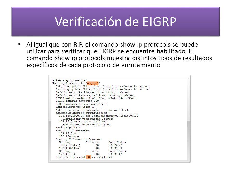 Al igual que con RIP, el comando show ip protocols se puede utilizar para verificar que EIGRP se encuentre habilitado. El comando show ip protocols mu