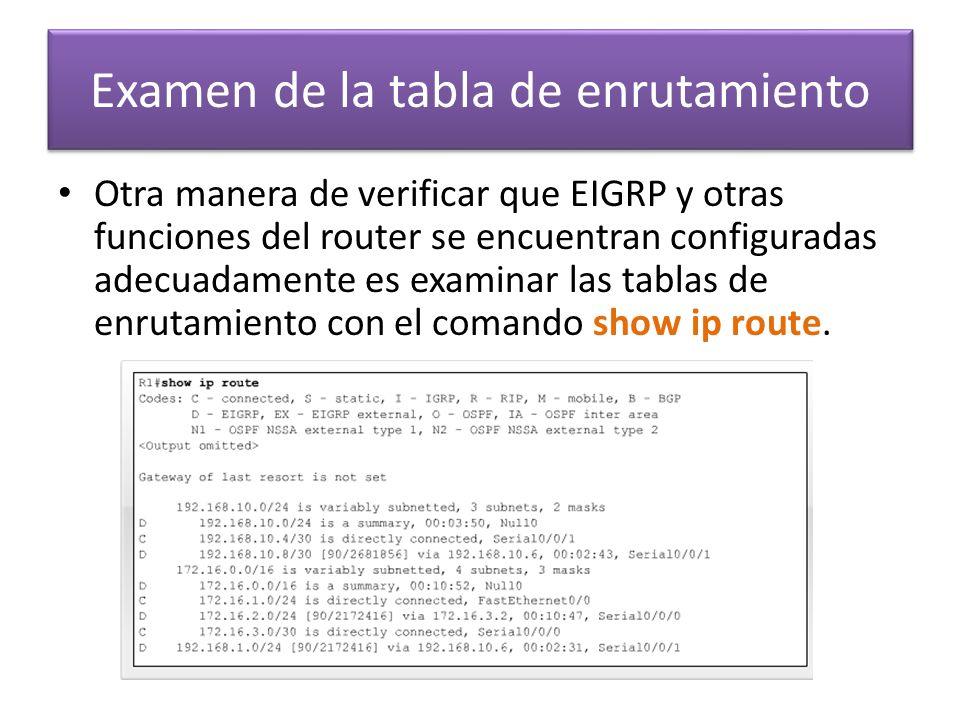 Otra manera de verificar que EIGRP y otras funciones del router se encuentran configuradas adecuadamente es examinar las tablas de enrutamiento con el