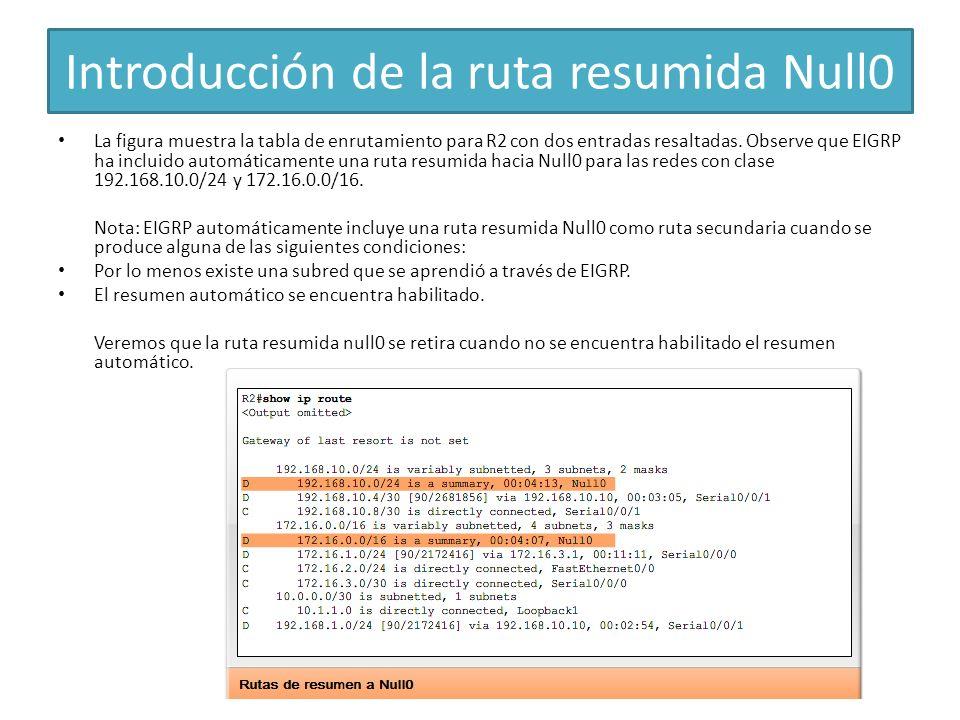 Introducción de la ruta resumida Null0 La figura muestra la tabla de enrutamiento para R2 con dos entradas resaltadas. Observe que EIGRP ha incluido a