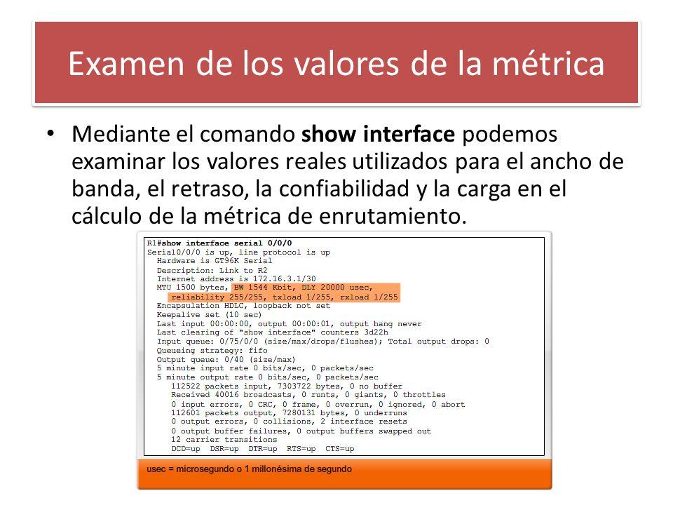 Examen de los valores de la métrica Mediante el comando show interface podemos examinar los valores reales utilizados para el ancho de banda, el retra