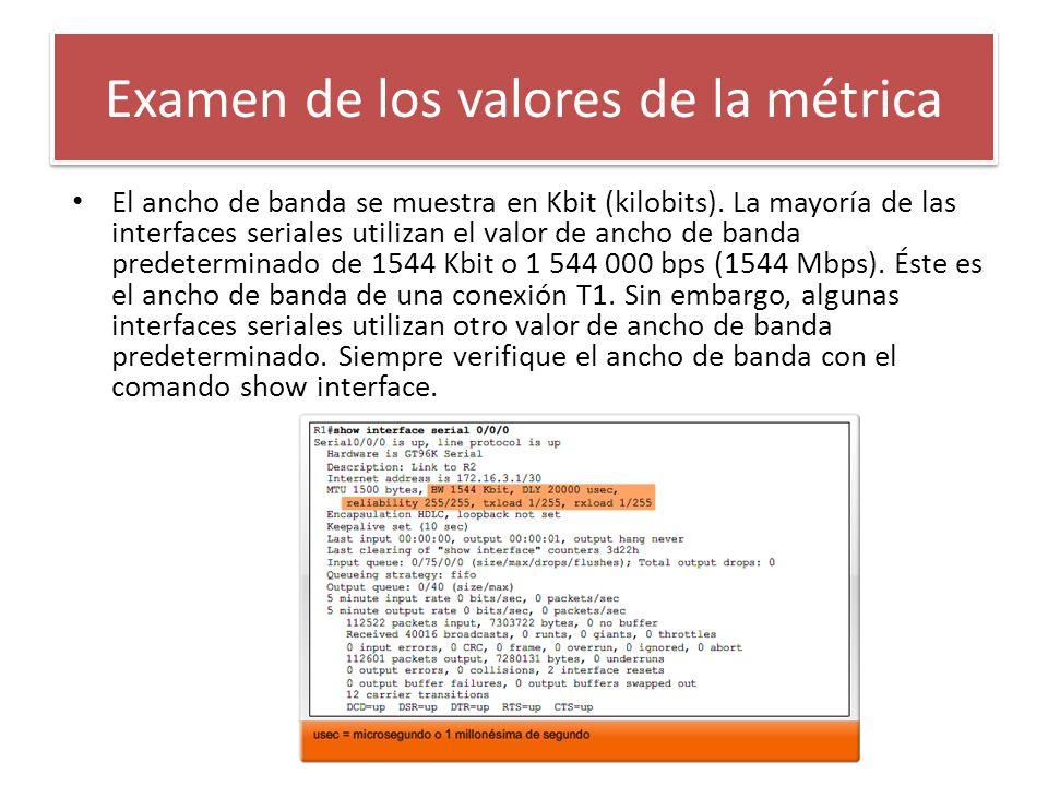 El ancho de banda se muestra en Kbit (kilobits). La mayoría de las interfaces seriales utilizan el valor de ancho de banda predeterminado de 1544 Kbit