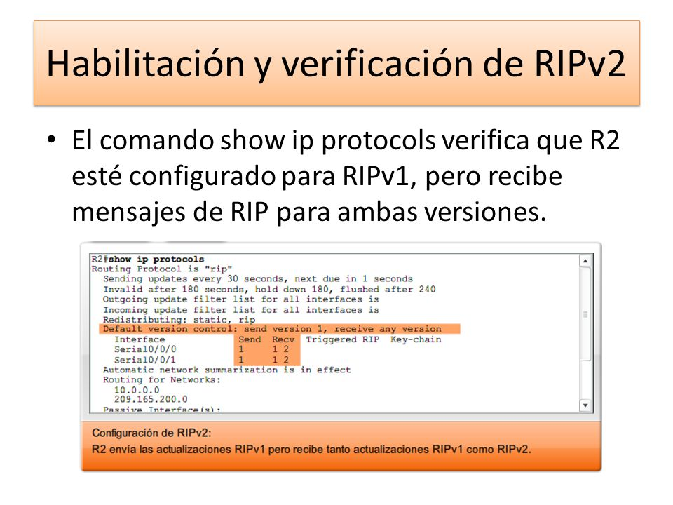 El comando show ip protocols verifica que R2 esté configurado para RIPv1, pero recibe mensajes de RIP para ambas versiones. Habilitación y verificació