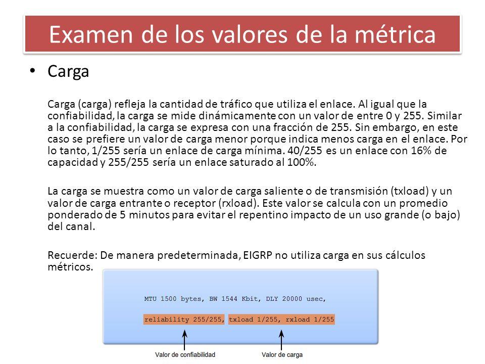 Carga Carga (carga) refleja la cantidad de tráfico que utiliza el enlace. Al igual que la confiabilidad, la carga se mide dinámicamente con un valor d