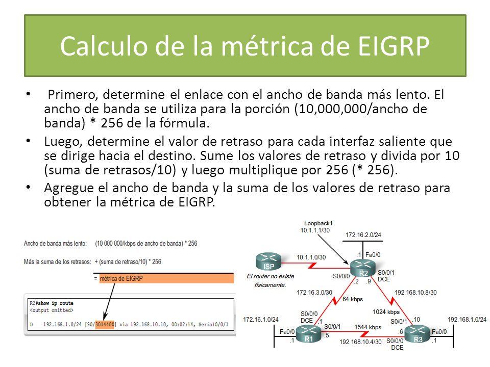 Calculo de la métrica de EIGRP Primero, determine el enlace con el ancho de banda más lento. El ancho de banda se utiliza para la porción (10,000,000/