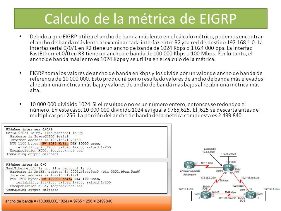 Debido a que EIGRP utiliza el ancho de banda más lento en el cálculo métrico, podemos encontrar el ancho de banda más lento al examinar cada interfaz