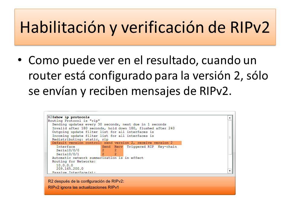 Como puede ver en el resultado, cuando un router está configurado para la versión 2, sólo se envían y reciben mensajes de RIPv2. Habilitación y verifi
