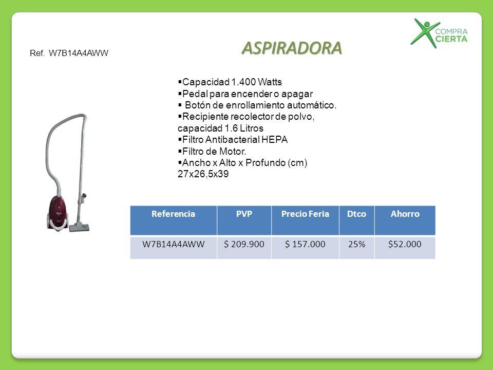 ASPIRADORA Capacidad 1.400 Watts Pedal para encender o apagar Botón de enrollamiento automático. Recipiente recolector de polvo, capacidad 1.6 Litros