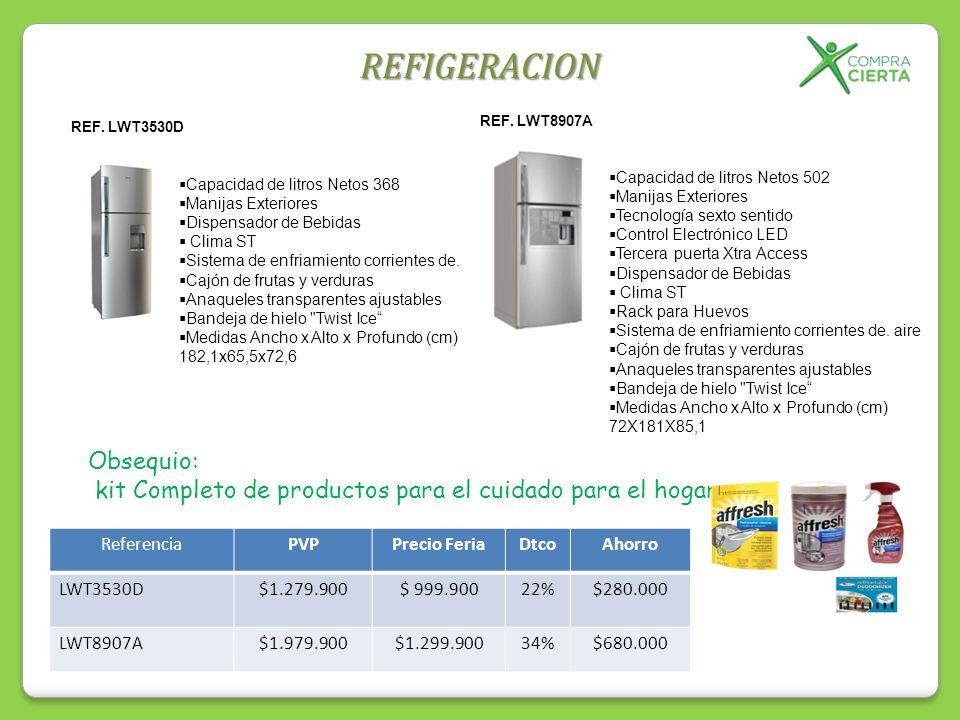 REFIGERACION REF. LWT3530D Capacidad de litros Netos 368 Manijas Exteriores Dispensador de Bebidas Clima ST Sistema de enfriamiento corrientes de. Caj