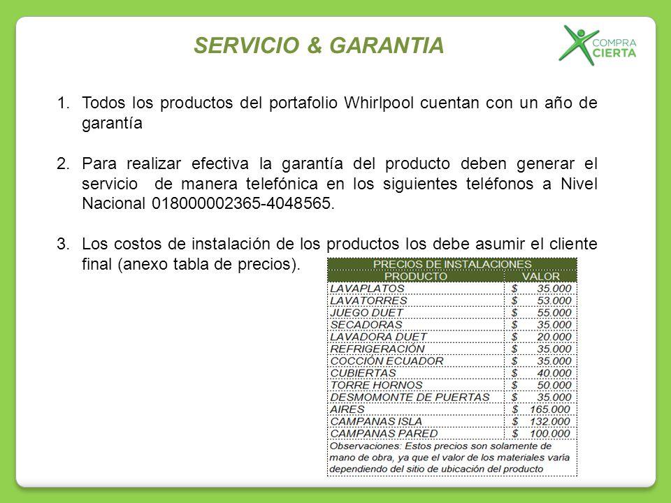 1.Todos los productos del portafolio Whirlpool cuentan con un año de garantía 2.Para realizar efectiva la garantía del producto deben generar el servi