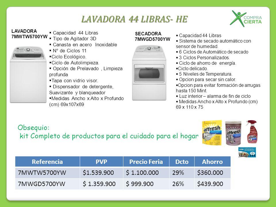 LAVADORA 44 LIBRAS- HE Capacidad 44 Libras Tipo de Agitador 3D Canasta en acero Inoxidable N° de Ciclos 11 Ciclo Ecológico. Ciclo de Autolimpieza. Opc