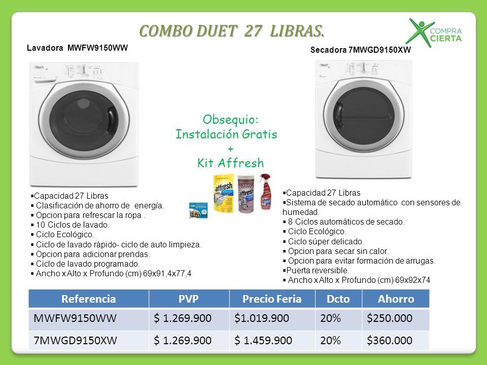 Capacidad 27 Libras Clasificación de ahorro de energía. Opcion para refrescar la ropa. 10 Ciclos de lavado. Ciclo Ecológico. Ciclo de lavado rápido- c