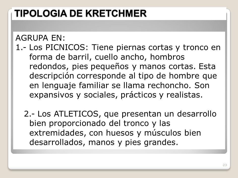 TIPOLOGIA DE KRETCHMER 23 AGRUPA EN: 1.- Los PICNICOS: Tiene piernas cortas y tronco en forma de barril, cuello ancho, hombros redondos, pies pequeños