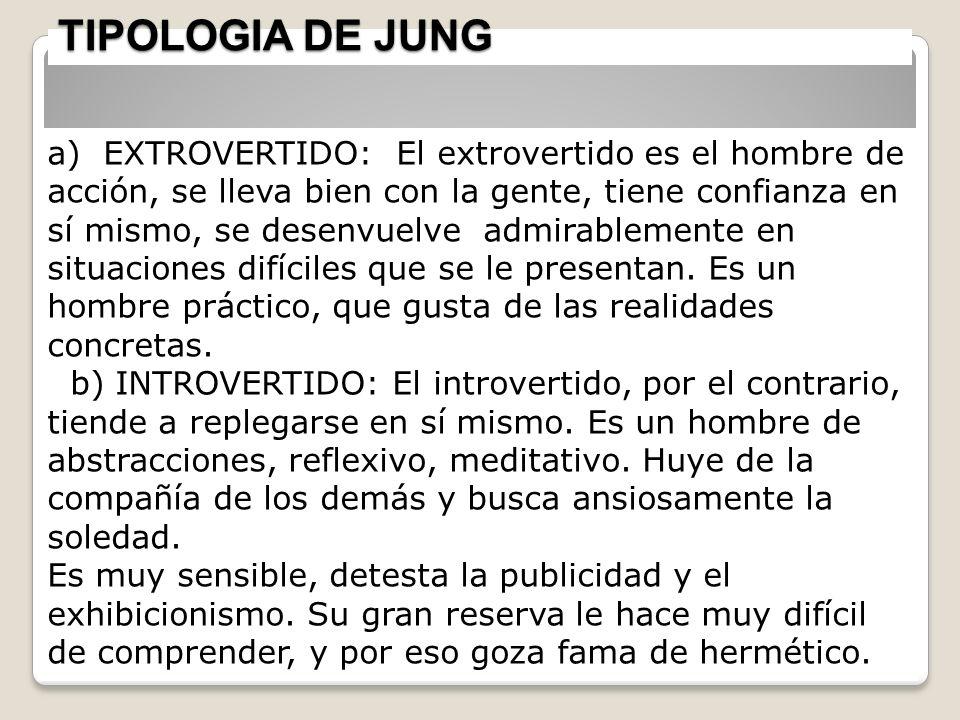 TIPOLOGIA DE JUNG 25 a) EXTROVERTIDO: El extrovertido es el hombre de acción, se lleva bien con la gente, tiene confianza en sí mismo, se desenvuelve
