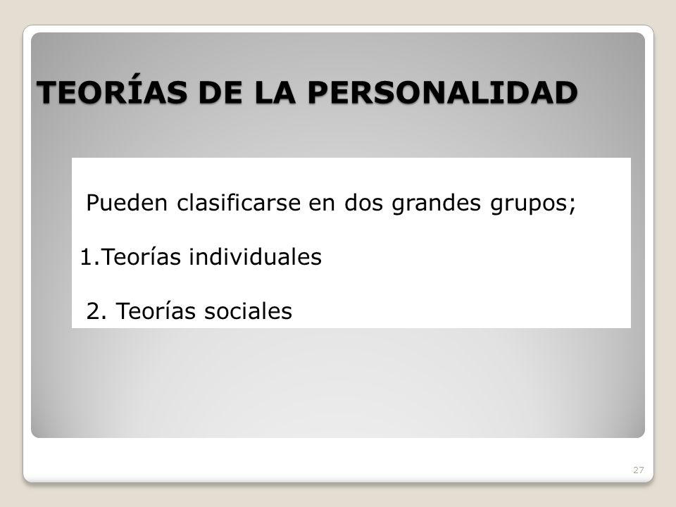 TEORÍAS DE LA PERSONALIDAD 27 Pueden clasificarse en dos grandes grupos; 1.Teorías individuales 2. Teorías sociales