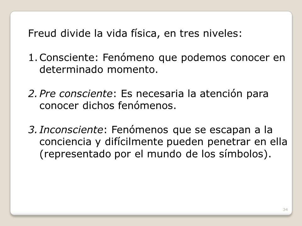 Freud divide la vida física, en tres niveles: 1.Consciente: Fenómeno que podemos conocer en determinado momento. 2.Pre consciente: Es necesaria la ate