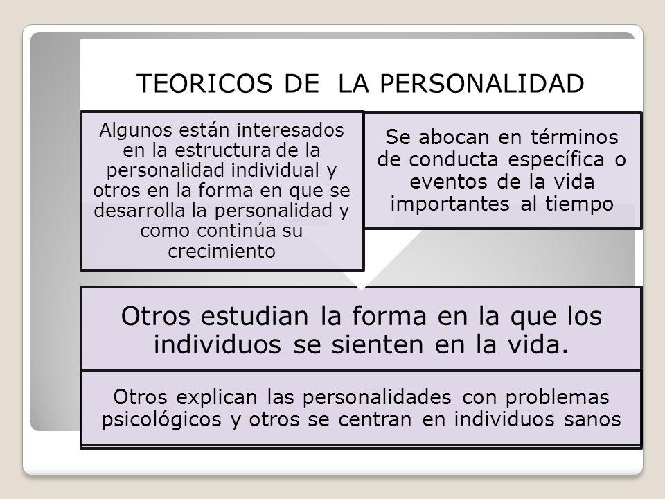 Otros estudian la forma en la que los individuos se sienten en la vida. Otros explican las personalidades con problemas psicológicos y otros se centra