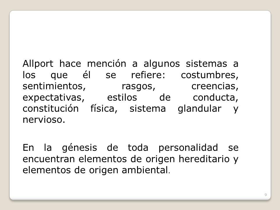 Allport hace mención a algunos sistemas a los que él se refiere: costumbres, sentimientos, rasgos, creencias, expectativas, estilos de conducta, const
