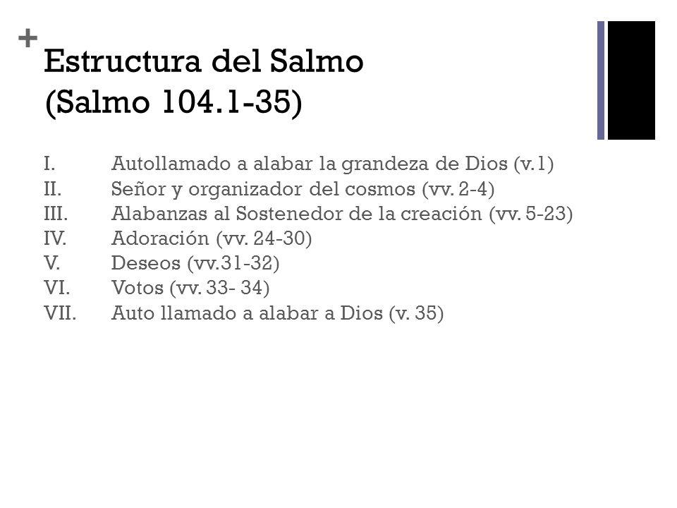 + Estructura del Salmo (Salmo 104.1-35) I.Autollamado a alabar la grandeza de Dios (v.1) II.Señor y organizador del cosmos (vv. 2-4) III.Alabanzas al