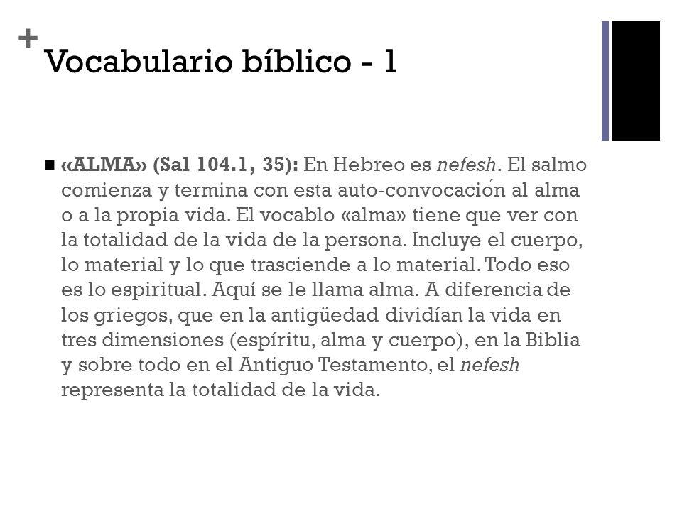 + Vocabulario bíblico - 1 «ALMA» (Sal 104.1, 35): En Hebreo es nefesh. El salmo comienza y termina con esta auto-convocacion al alma o a la propia vid