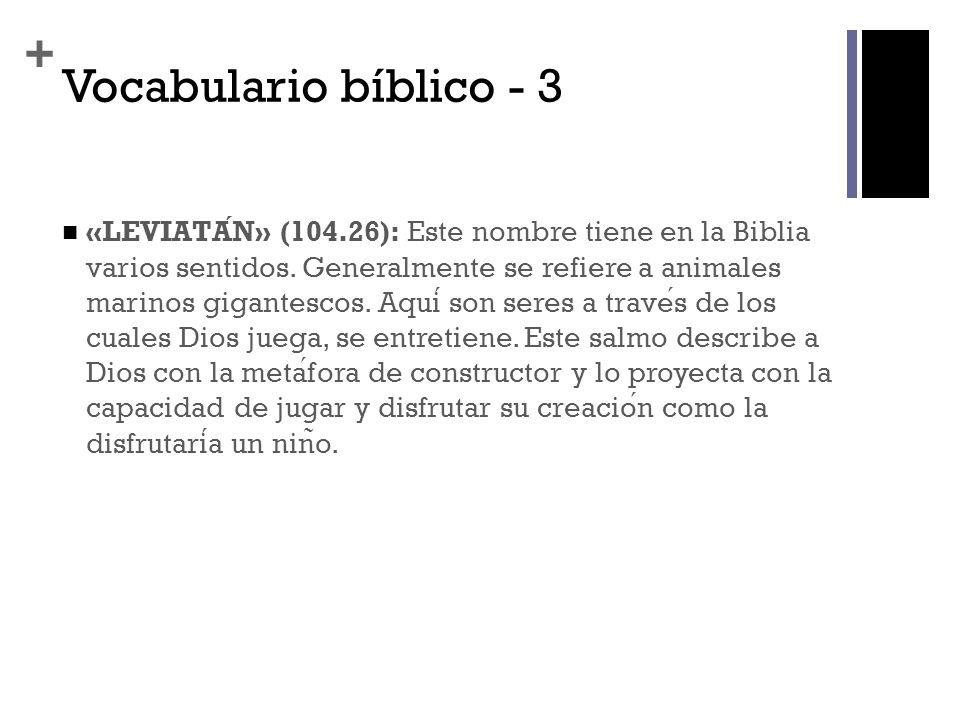 + Vocabulario bíblico - 3 «LEVIATAN» (104.26): Este nombre tiene en la Biblia varios sentidos. Generalmente se refiere a animales marinos gigantescos.