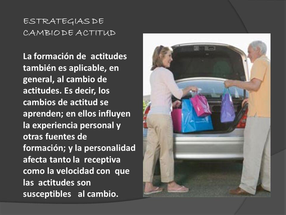 ESTRATEGIAS DE CAMBIO DE ACTITUD La formación de actitudes también es aplicable, en general, al cambio de actitudes. Es decir, los cambios de actitud