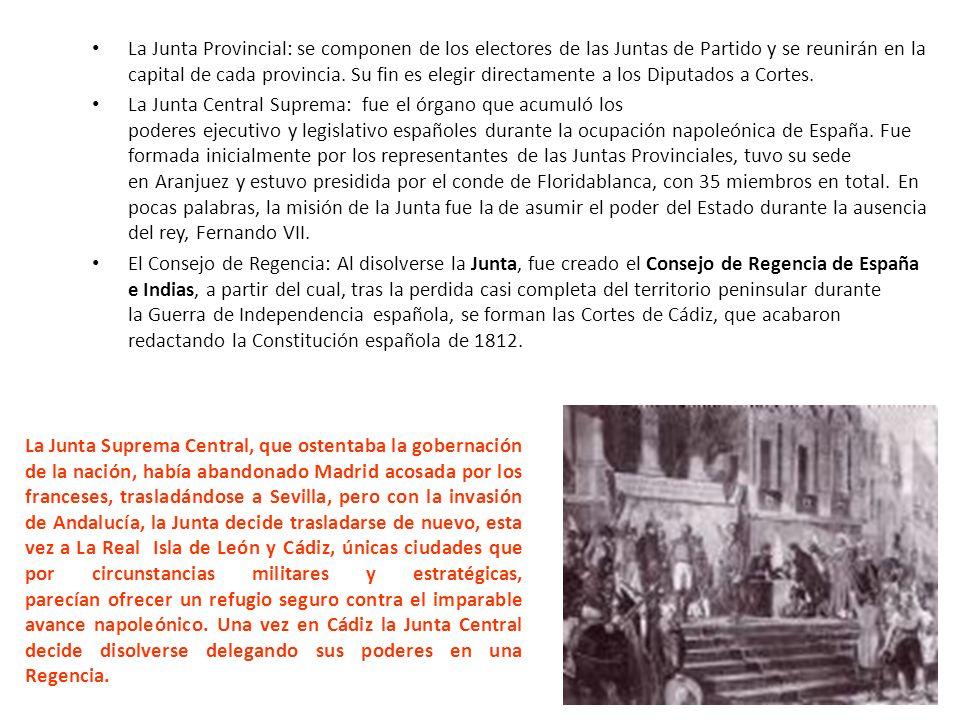 La Junta Provincial: se componen de los electores de las Juntas de Partido y se reunirán en la capital de cada provincia.