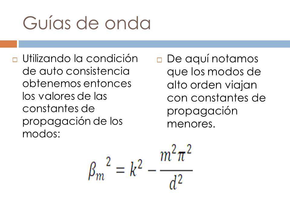 Guías de onda Utilizando la condición de auto consistencia obtenemos entonces los valores de las constantes de propagación de los modos: De aquí notam
