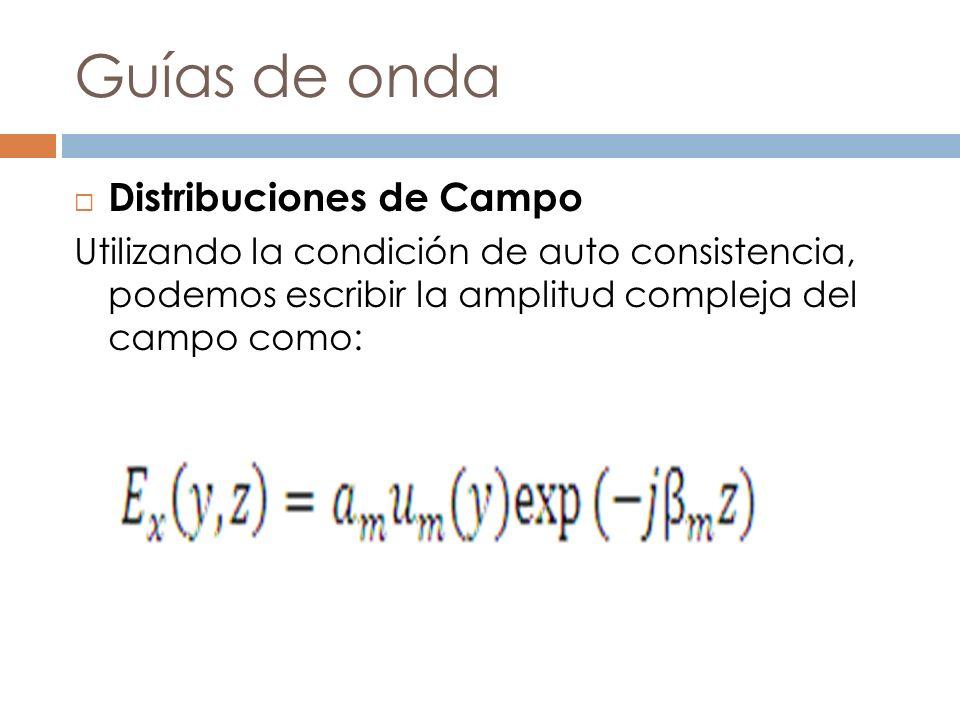 Guías de onda Distribuciones de Campo Utilizando la condición de auto consistencia, podemos escribir la amplitud compleja del campo como: