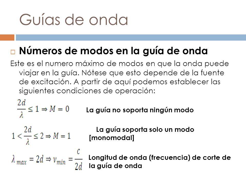 Guías de onda Números de modos en la guía de onda Este es el numero máximo de modos en que la onda puede viajar en la guía. Nótese que esto depende de