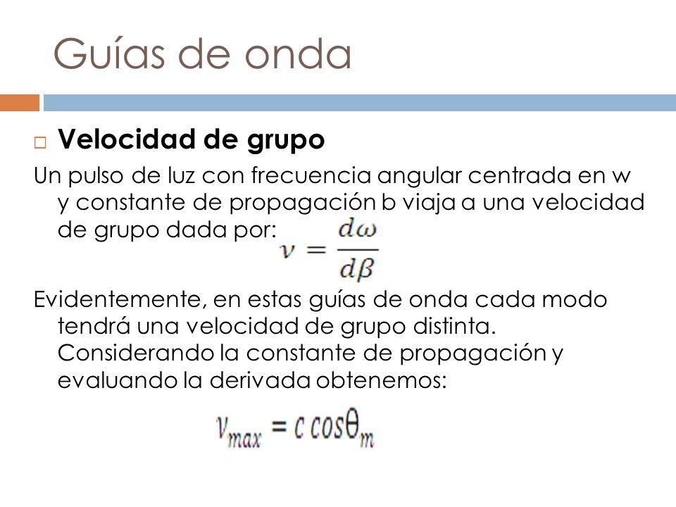 Guías de onda Velocidad de grupo Un pulso de luz con frecuencia angular centrada en w y constante de propagación b viaja a una velocidad de grupo dada