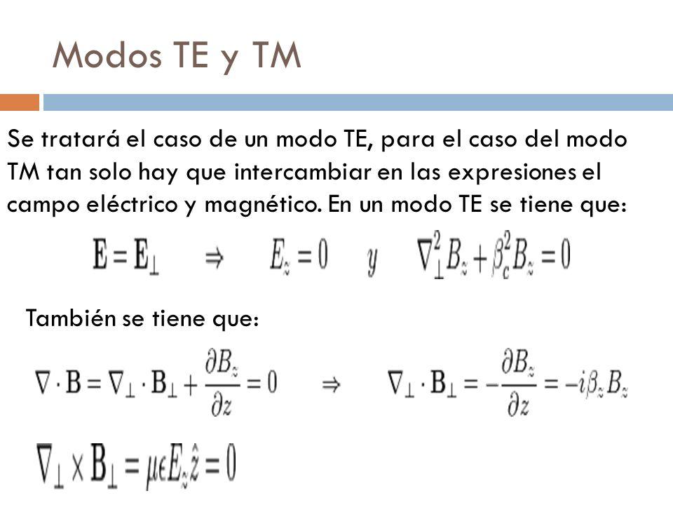 Modos TE y TM Se tratará el caso de un modo TE, para el caso del modo TM tan solo hay que intercambiar en las expresiones el campo eléctrico y magnéti