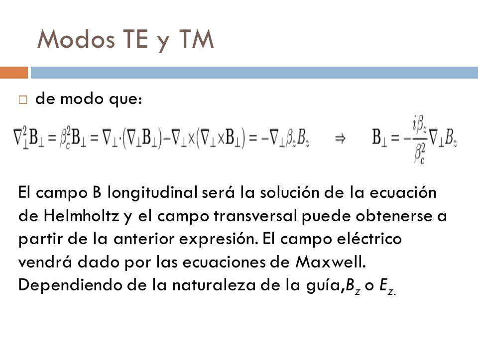 Modos TE y TM de modo que: El campo B longitudinal será la solución de la ecuación de Helmholtz y el campo transversal puede obtenerse a partir de la