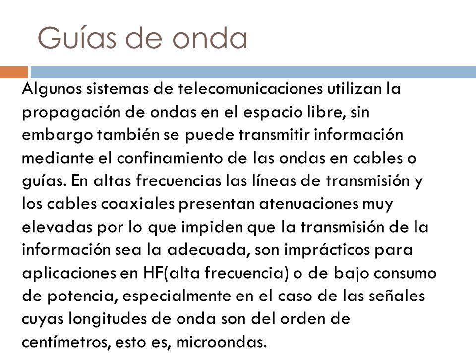 Microondas La transmisión de señales por guías de onda reduce la disipación de energía, es por ello que se utilizan en las frecuencias denominadas de microondas con el mismo propósito que las líneas de transmisión en frecuencias más bajas, ya que se presentan poca atenuación para el manejo de señales de alta frecuencia.