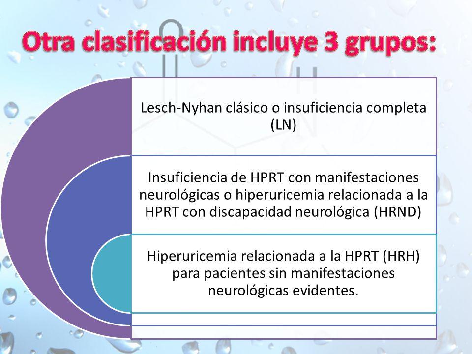 Lesch-Nyhan clásico o insuficiencia completa (LN) Insuficiencia de HPRT con manifestaciones neurológicas o hiperuricemia relacionada a la HPRT con discapacidad neurológica (HRND) Hiperuricemia relacionada a la HPRT (HRH) para pacientes sin manifestaciones neurológicas evidentes.