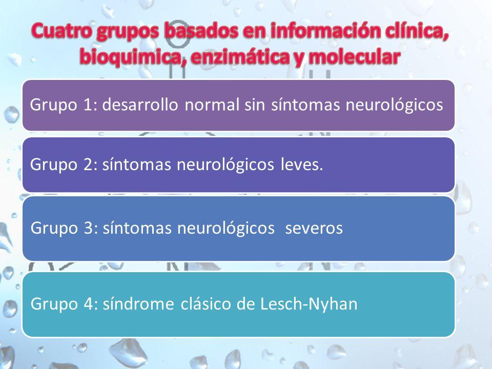 Grupo 1: desarrollo normal sin síntomas neurológicos Grupo 2: síntomas neurológicos leves.