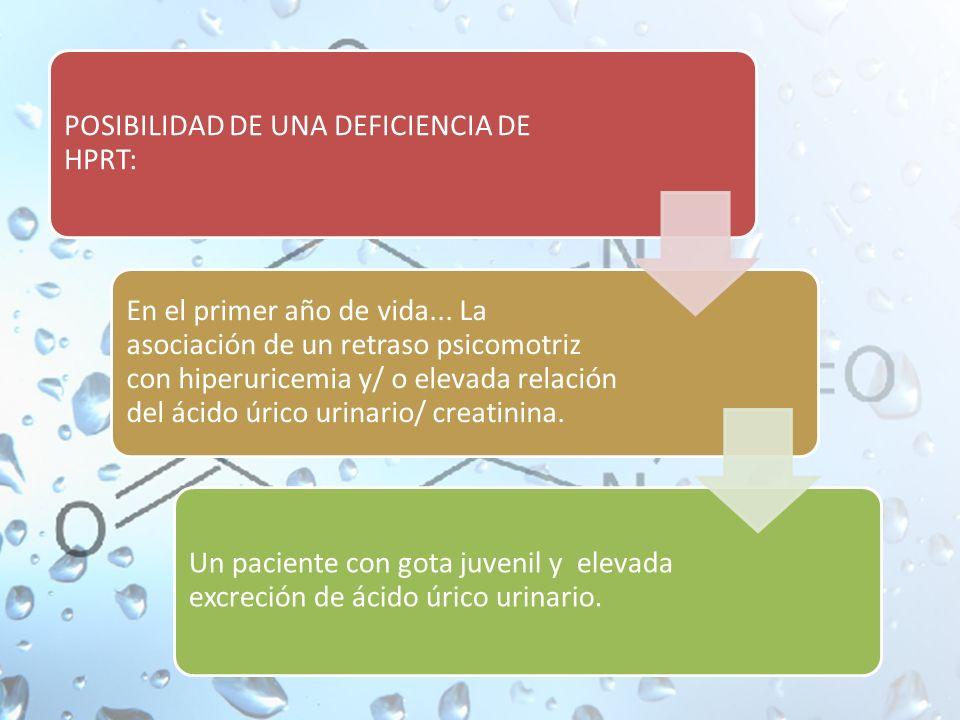 POSIBILIDAD DE UNA DEFICIENCIA DE HPRT: En el primer año de vida...