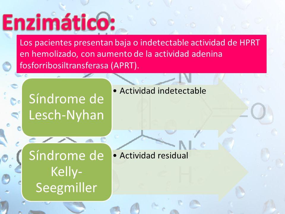 Actividad indetectable Síndrome de Lesch-Nyhan Actividad residual Síndrome de Kelly- Seegmiller Los pacientes presentan baja o indetectable actividad de HPRT en hemolizado, con aumento de la actividad adenina fosforribosiltransferasa (APRT).