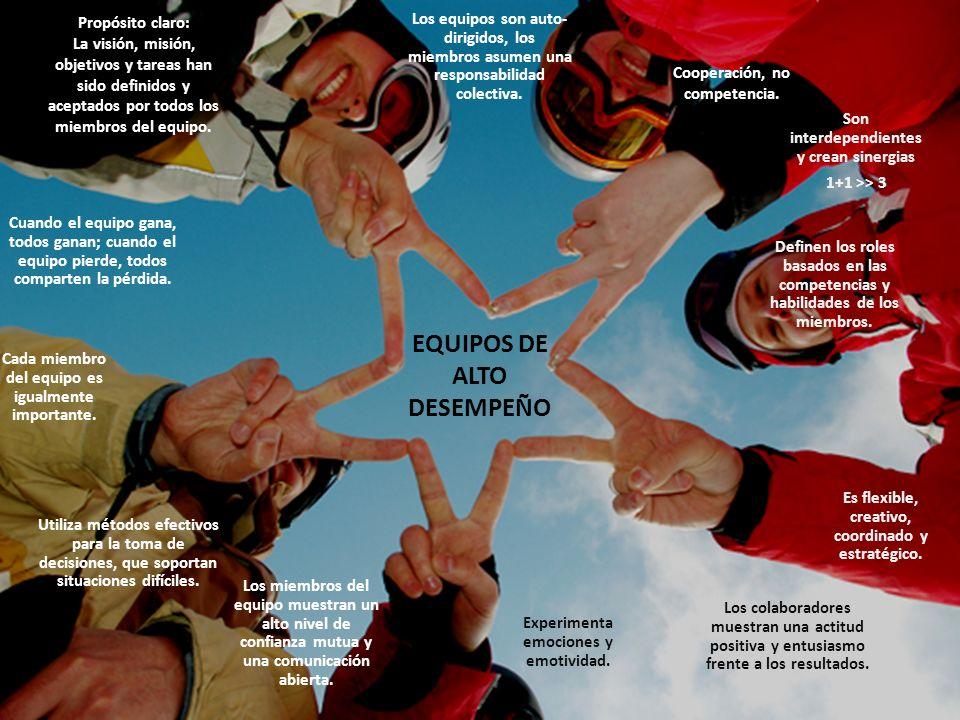 EQUIPOS DE ALTO DESEMPEÑO Propósito claro: La visión, misión, objetivos y tareas han sido definidos y aceptados por todos los miembros del equipo. Cua
