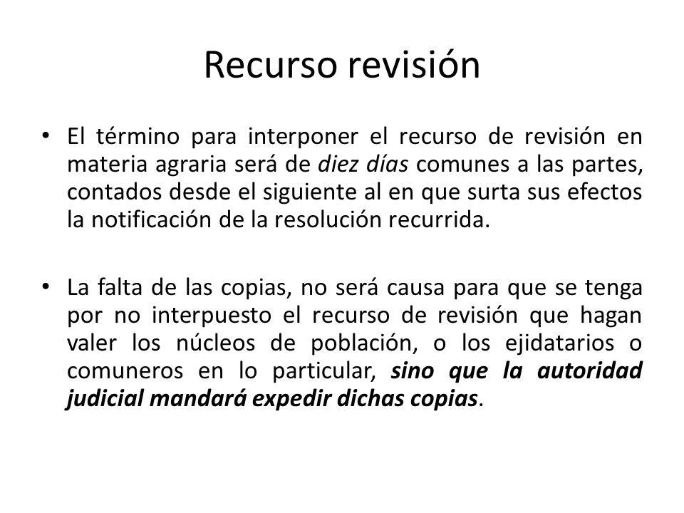 Recurso revisión El término para interponer el recurso de revisión en materia agraria será de diez días comunes a las partes, contados desde el siguie