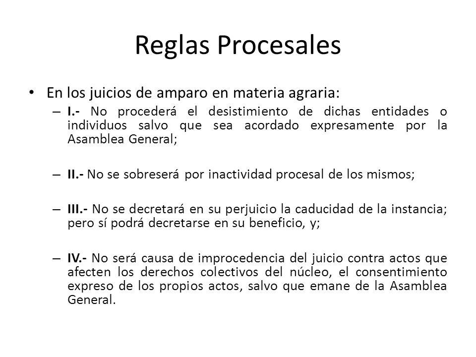 Reglas Procesales En los juicios de amparo en materia agraria: – I.- No procederá el desistimiento de dichas entidades o individuos salvo que sea acor