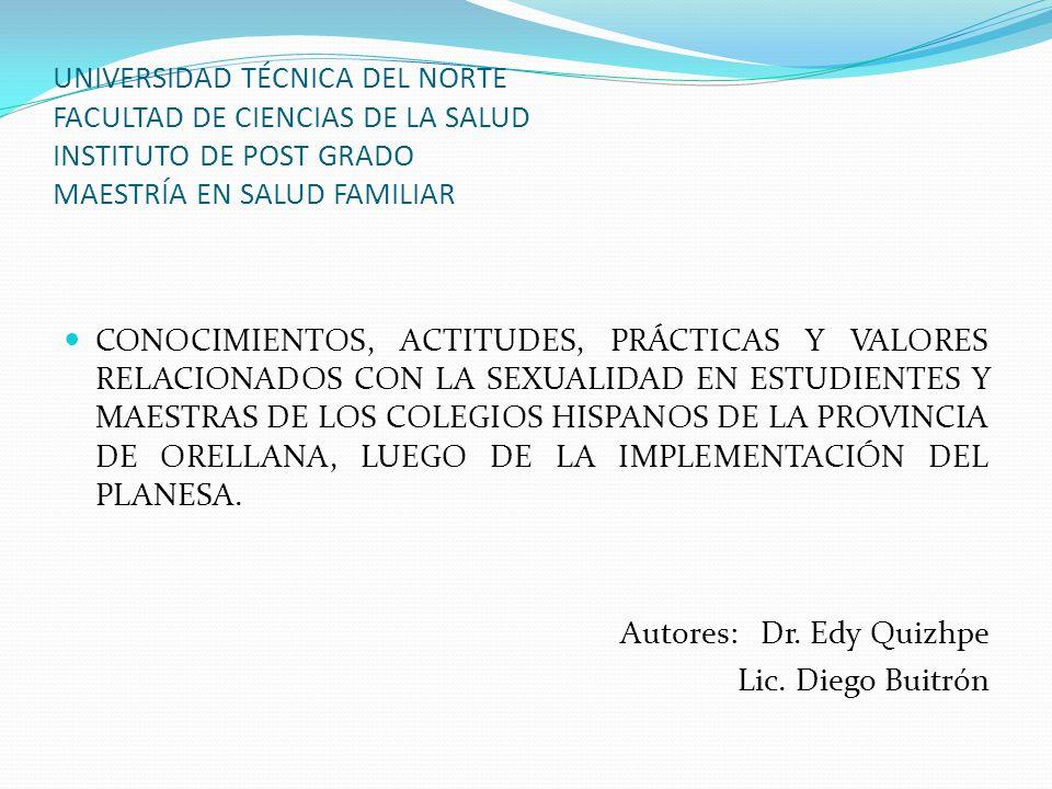 UNIVERSIDAD TÉCNICA DEL NORTE FACULTAD DE CIENCIAS DE LA SALUD INSTITUTO DE POST GRADO MAESTRÍA EN SALUD FAMILIAR CONOCIMIENTOS, ACTITUDES, PRÁCTICAS