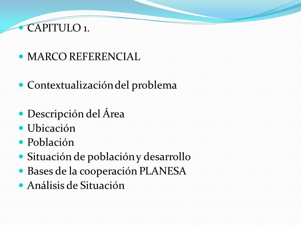 CAPITULO 1. MARCO REFERENCIAL Contextualización del problema Descripción del Área Ubicación Población Situación de población y desarrollo Bases de la