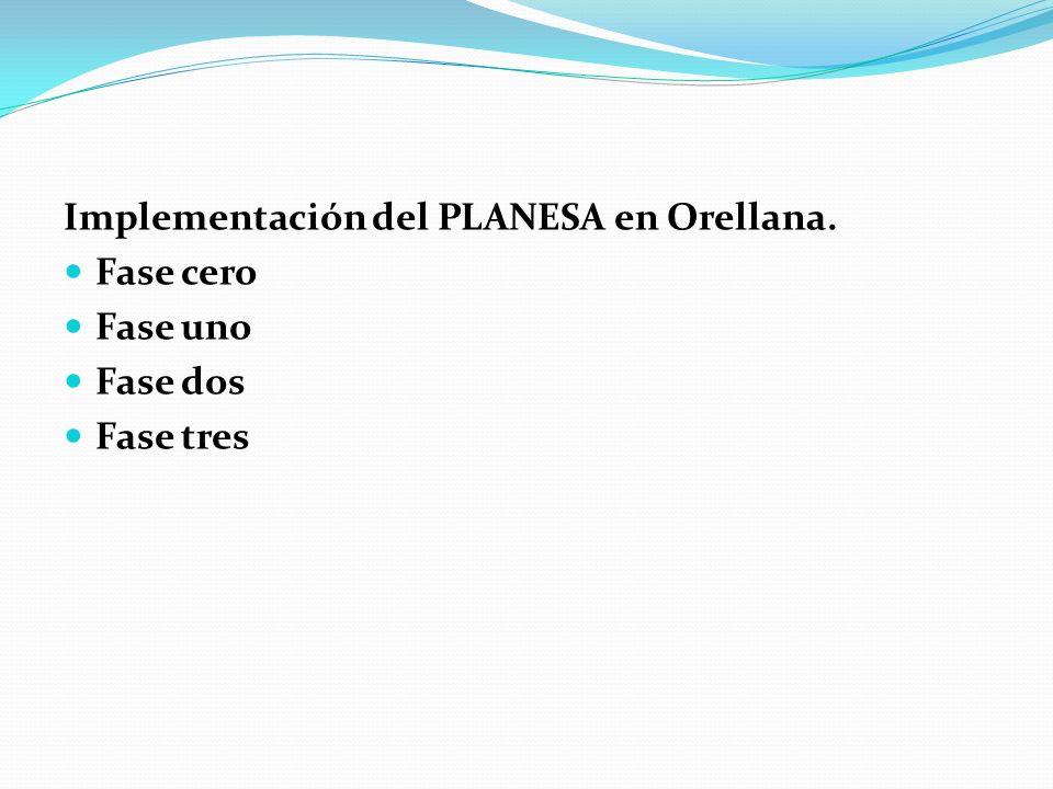 Implementación del PLANESA en Orellana. Fase cero Fase uno Fase dos Fase tres