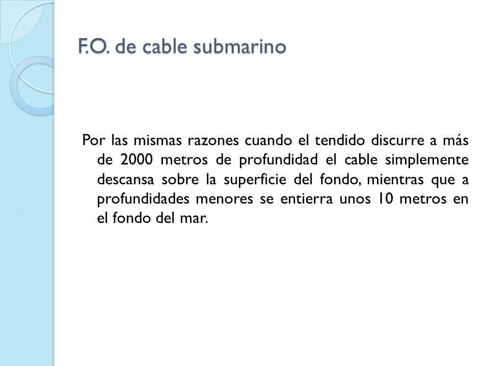 F.O. de cable submarino Por las mismas razones cuando el tendido discurre a más de 2000 metros de profundidad el cable simplemente descansa sobre la s
