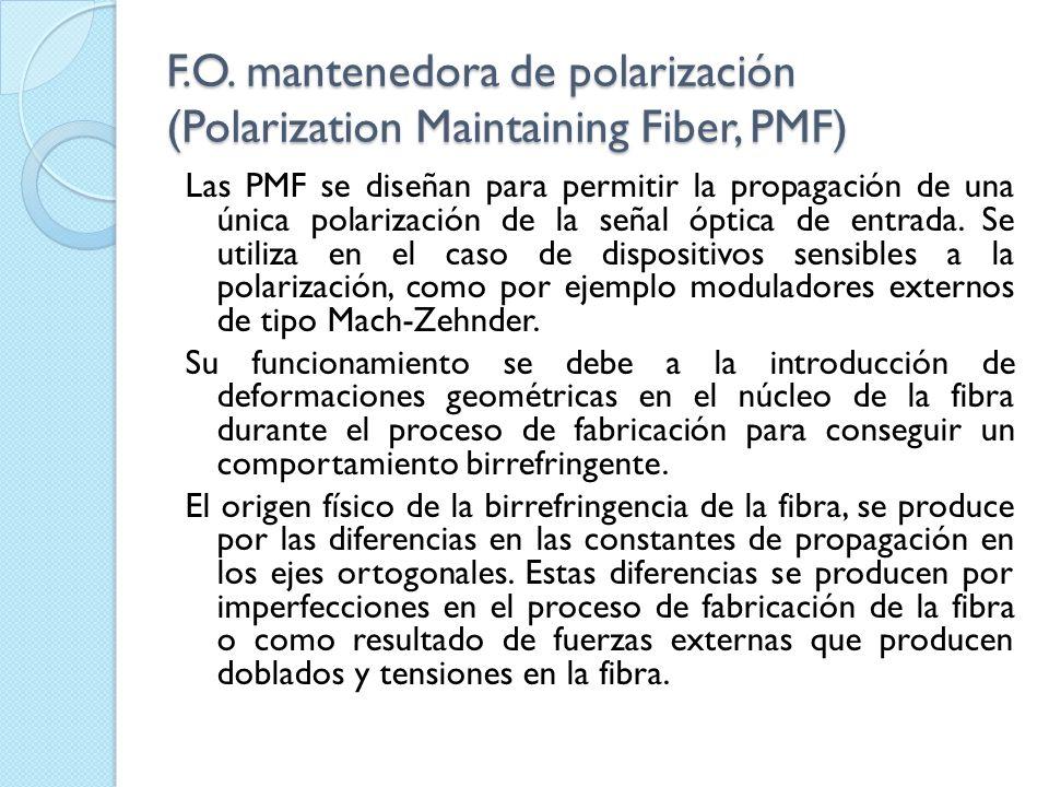 F.O. mantenedora de polarización (Polarization Maintaining Fiber, PMF) Las PMF se diseñan para permitir la propagación de una única polarización de la