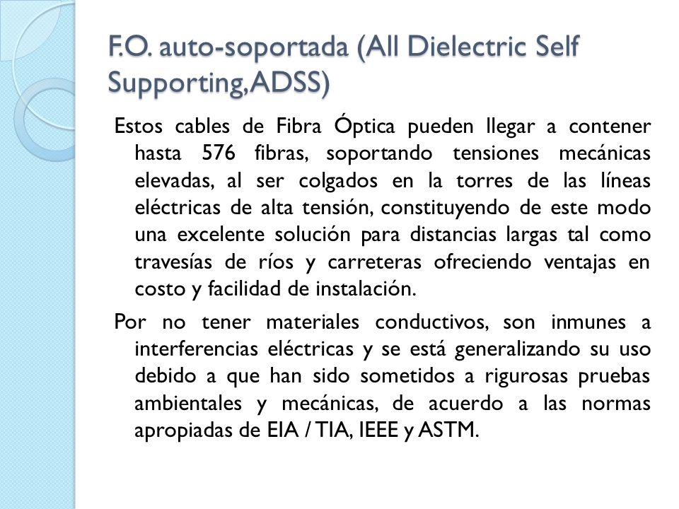 F.O. auto-soportada (All Dielectric Self Supporting, ADSS) Estos cables de Fibra Óptica pueden llegar a contener hasta 576 fibras, soportando tensione